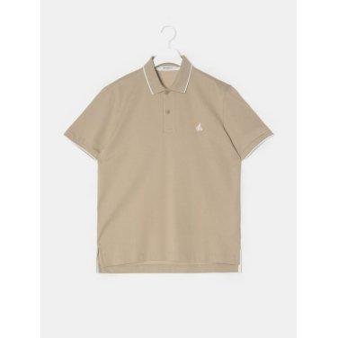 19SS  Unisex 베이지 티핑 포인트 칼라 티셔츠(BC9342A13A)