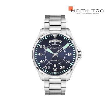 H64615145 카키 파일럿 오토 데이데이트 42mm 블루 메탈 남성 시계