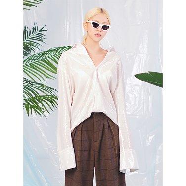 [홀리넘버7] Spangle Overfit shirt_WH