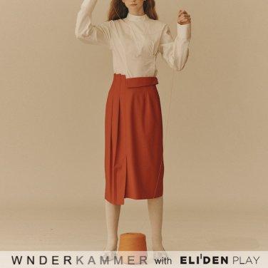 [분더캄머:WNDERKAMMER] Unbalance Tuck Skirt_Red (WK9F9-UTSK010)