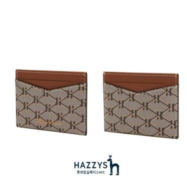 [선물포장]HIHO0E670W2_브라운 가죽 헤리아토 패턴 카드홀더