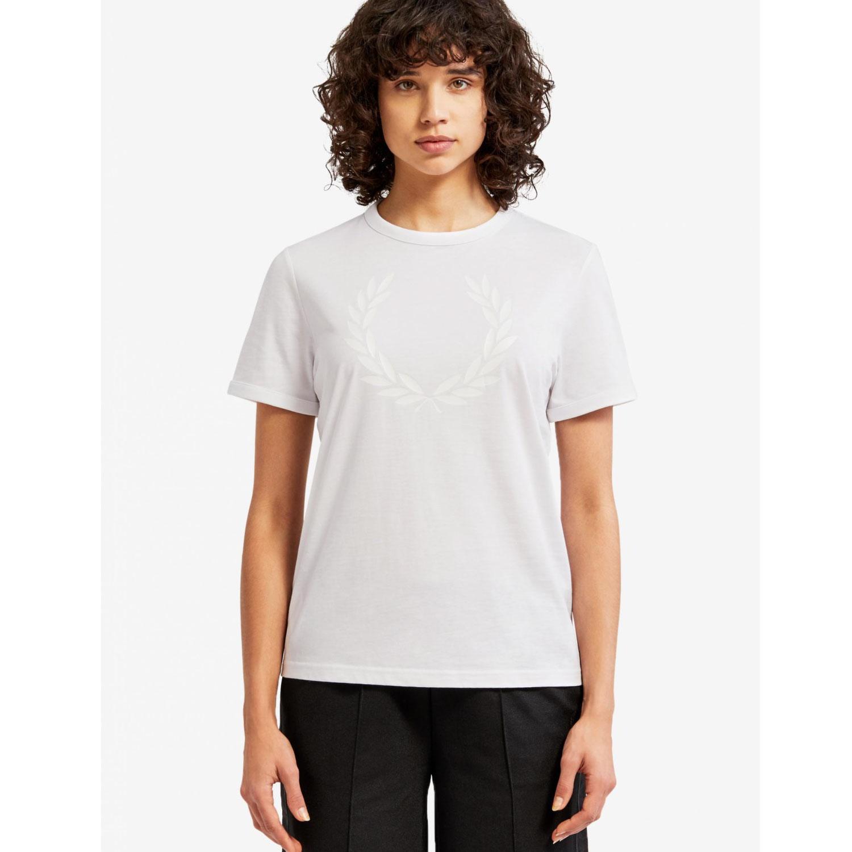 프레드페리 [프레드페리][S/S상품] (100) 여성 로렐 리스 프린트 티셔츠Laurel Wreath Print T-Shirt + 최종 결제가 기준 AFPF1914110