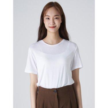 여성 아이보리 베이직 라운드넥 반소매 티셔츠 (329742LY40)