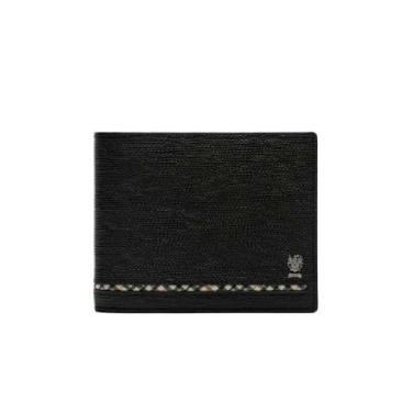 [ALEXANDER] 블랙 라인 체크 소가죽 반지갑 DBWA9E623BK