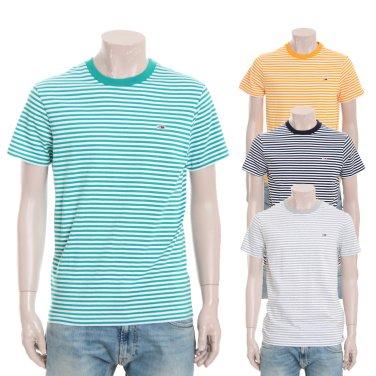 유니 클래식 싱글 저지 스트라이프 라운드넥 반소매 티셔츠 TJMT2KOE56U0