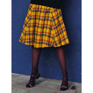 Check Button Skirt _ Yellow