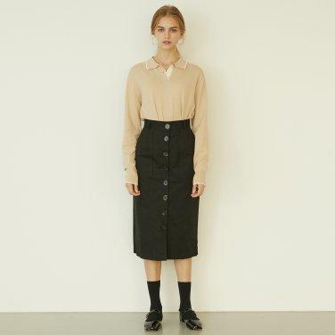 P Button Long Skirt_BK