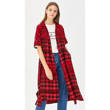 믹스 체크 셔츠 원피스 BAOP09941