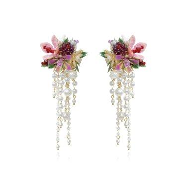 [피버리쉬] FLOWER BLAST LARGE TASSEL BURGUNDY EARRINGS (FB3E5)