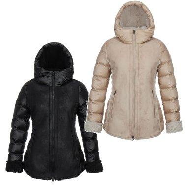 [쇼핑백증정]여성 페이크 무톤 다운자켓(JKJDW18632BLK,PBE)
