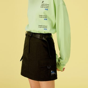 [RLOL] (SK-20307) RLOL BELT CARGO SKIRT BLACK