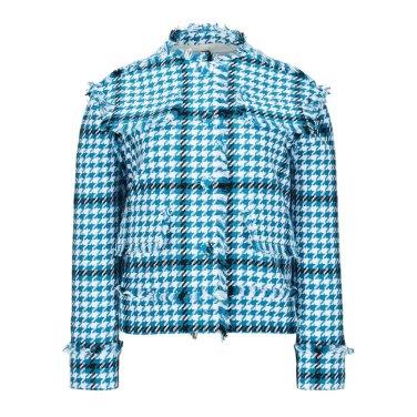 FRINGED COTTON SHORT TWEED JACKET (BLUE)