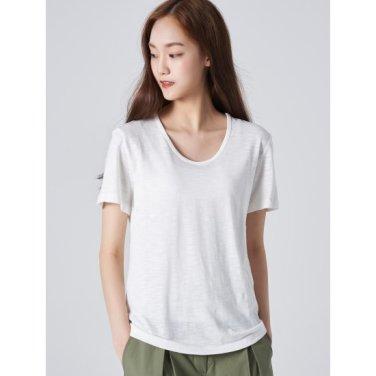 여성 화이트 베이직 슬럽 U넥 티셔츠 (329742LYT1)