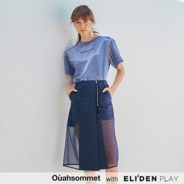 [우아솜메] Ouahsommet Sheer Block Skirt_BL (OBFSK002A)