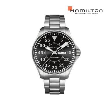 H64715135 카키 킹 파일럿 오토 46mm 블랙 메탈 남성 시계
