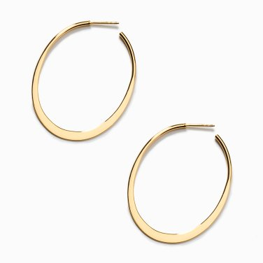 thin oval hoop earring L