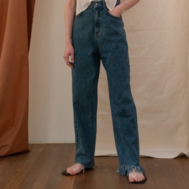 Lodi Unbalance Cutting Denim Trouser [Blue] (JC19SSDP01_BL)