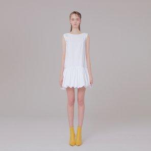 Ribbon detail dress 001 white