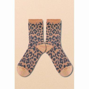 [테이즈] Leopard Glitter Socks_Pink Beige