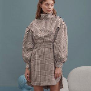 브라운 체크 셔츠 버튼 드레스