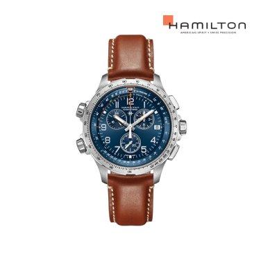 H77922541 카키 에비에이션 X-Wind GMT 크로노 쿼츠 46mm 브라운 가죽 남성 시계