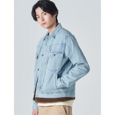 남성 스카이 블루 버튼업 데님 트러커 재킷 (420139LP4Q)