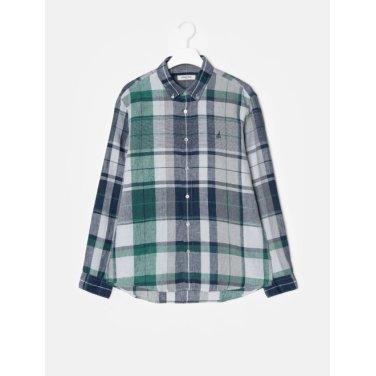 19SS  [SLIM] 네이비 리넨 빅 멀티 체크 셔츠(BC9364A03R)