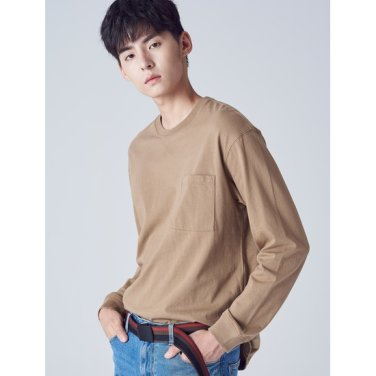 남성 베이지 언밸런스 포켓 오버사이즈 티셔츠 (268841SY4A)