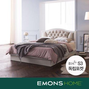 [에몬스홈]로메로 가죽헤드 평상형 침대 Q(8H S3 독립포켓매트)