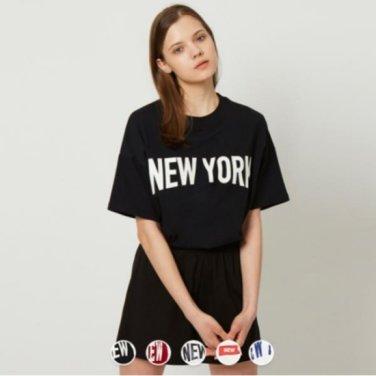 여 크루넥 프린트 반팔 티셔츠(NYC) 399510