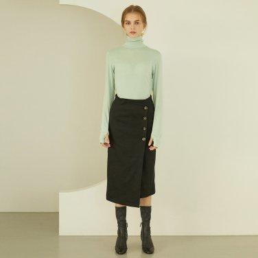 P Button Wrap Skirt_BK