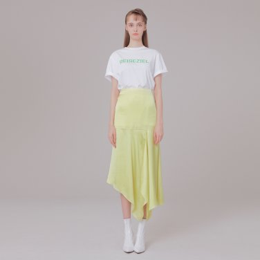 Silk detail skirt 001 Lemon