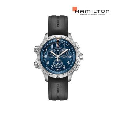 H77922341 카키 에비에이션 X-Wind GMT 크로노 쿼츠 46mm 블랙 러버 남성 시계