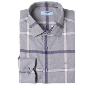 빅체크 기모 슬림핏 셔츠 RIWSL0156GYIL