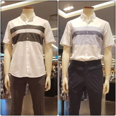 올젠 가슴 블럭 배색 반팔 셔츠 ZRY2WC1106