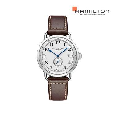H78465553 카키 네이비 파이오니어 40mm 실버 / 브라운 가죽 남성 시계