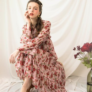 Waltz Shirring Bending Long Dress Pink(2019SSOP320_04)
