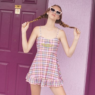(OP-19372) CHECK FLARE ONEPIECE SWIMSUIT PINK
