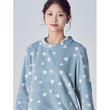 여성 [파자마 시리즈] 스카이 블루 패턴 수면 파자마 티셔츠 (158X41SYAQ)