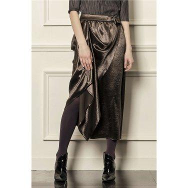 [까이에] Draped midi skirt