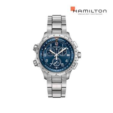 H77922141 카키 에비에이션 X-Wind GMT 크로노 쿼츠 46mm 브레이슬릿 남성 시계