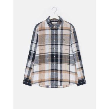19SS  [SLIM] 베이지 리넨 빅 멀티 체크 셔츠(BC9364A03A)