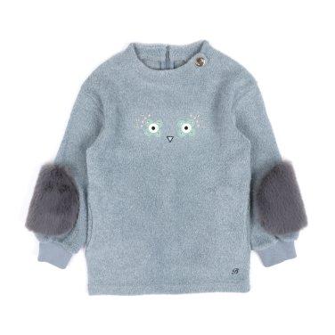 BR66TS01MT 여아 민트 퍼 소매 롱 티셔츠