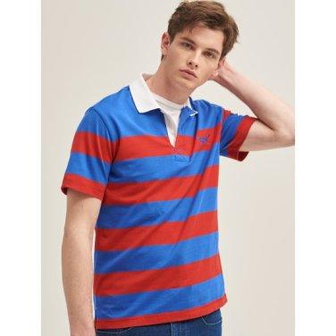 블루 볼드 스트라이프 배색 칼라 티셔츠 (BC9342A37P)