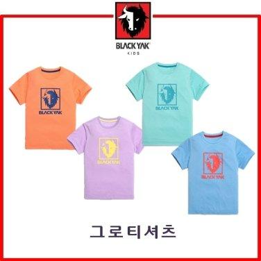 화사한 컬러감과 로고 프린트로 디자인 포인트를 준 티셔츠
