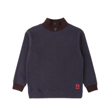 BT63TS02CG 브라운 배색 챠콜 그레이 맨투맨 티셔츠