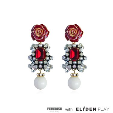 [피버리쉬] ROSE EARRINGS-RED (FL11E1)