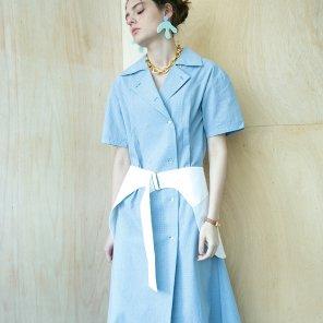 Hip Skirt Belt Dress [Vintage Sky Blue] (18SM03HBDVBF)