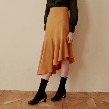 UNBALANCE FLARE SKIRT_YELLOW