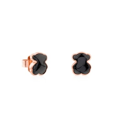 [TOUS]Rose Vermeil Silver Motif Earrings with Onyx/614933530